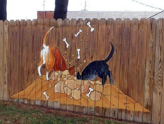 рисунок на деревянном заборе